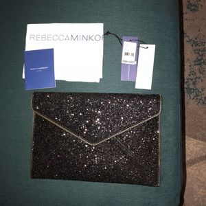 Rebecca Minkoff Leo Glitter Black Envelope Clutch